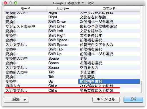 Google 日本語入力 キー設定